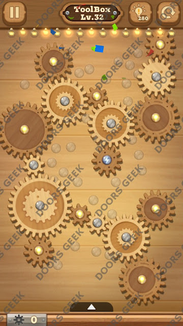 Fix it: Gear Puzzle [ToolBox] Level 32 Solution, Cheats, Walkthrough for Android, iPhone, iPad and iPod