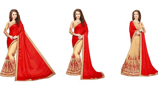 Glory Sarees Embroidered, Embellished Fashion Silk, Net Saree  (Multicolor)