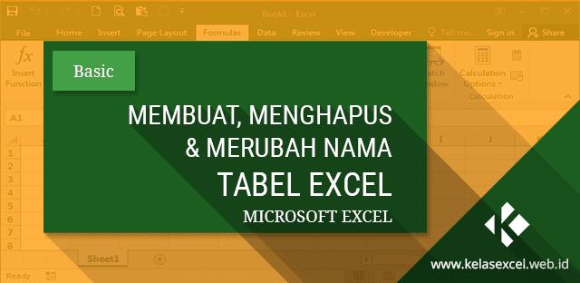 Membuat Tabel, Merubah Nama Tabel dan Menghapus Tabel Pada Microsoft Excel