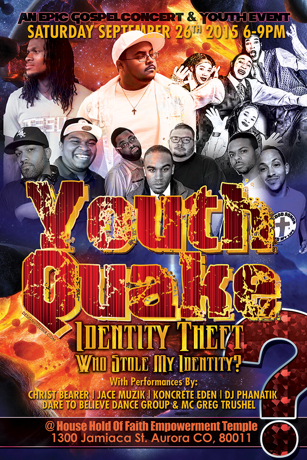 Youth Quake Identity Theft Awareness Church Concert Poster Design