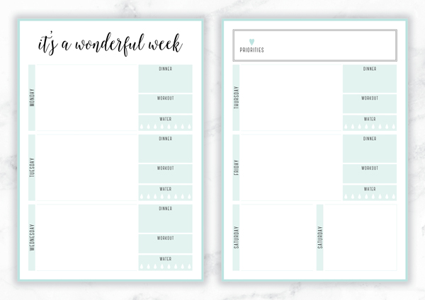 Free Printable Irma 'It's a Wonderful Week' Weekly Planner by Eliza Ellis - The perfect organizing solution for mums, entrepreneurs, bloggers, etsy sellers, professionals, WAHM's, SAHM's, students and moms. Available in 6 colors and both A4 and A5 sizes. Enjoy!