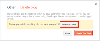 delete a blog in blogger