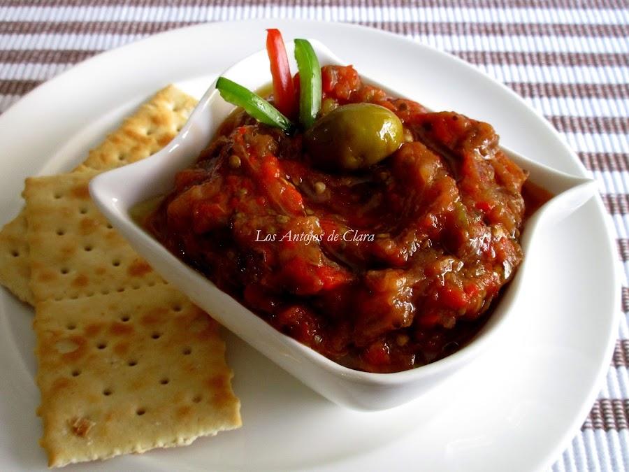 Baba ganoush con pimientos asados