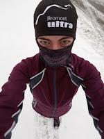 Coureuse, l'hiver, multicouches, neige