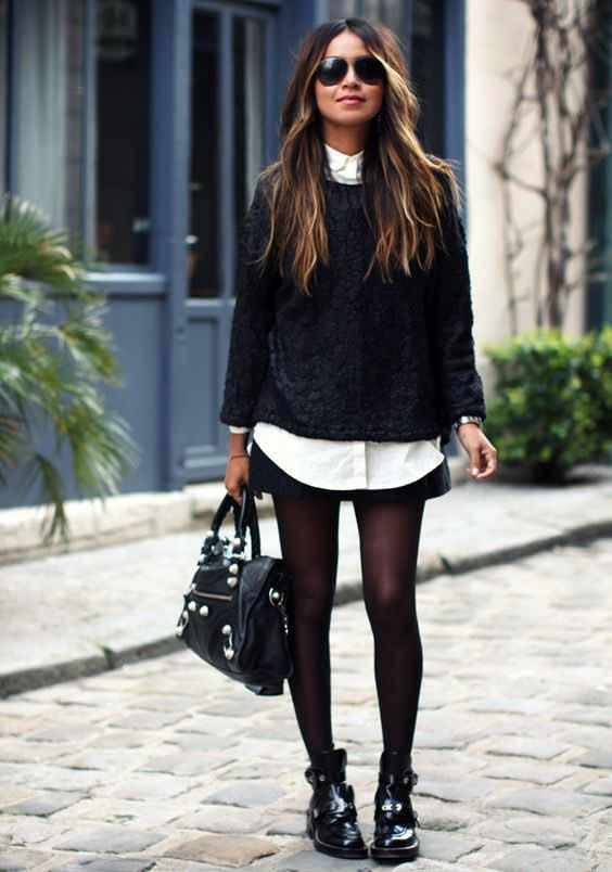 Saia, blusa de tricô e meia calça