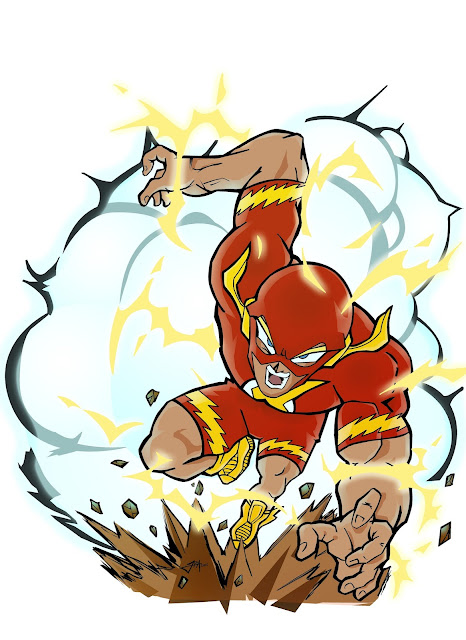 the flash, superheroe manga, fan art, akira toriyama, dibujo