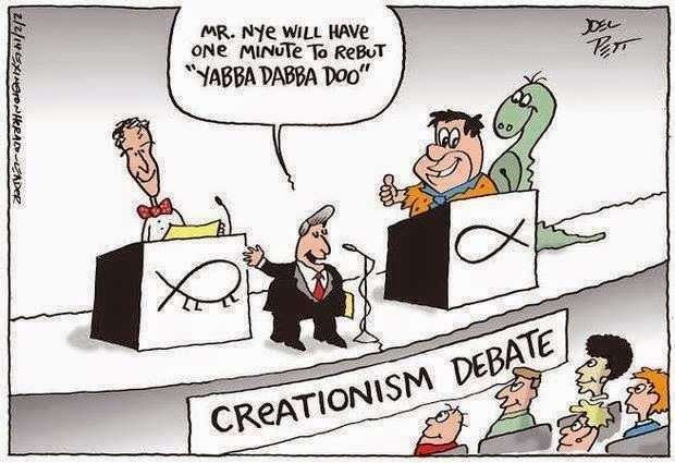 Funny Bill Nye Flintstones Creationism Debate Cartoon Joke Picture