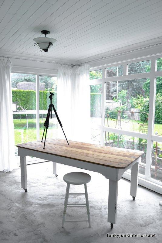 white room photo studio farm table worktable on wheels