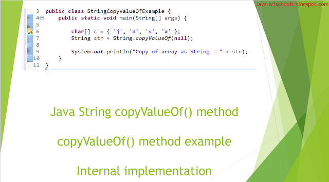 String copyValueOf​ method