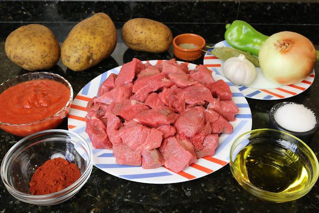 Ingredientes para guiso de patatas con ternera