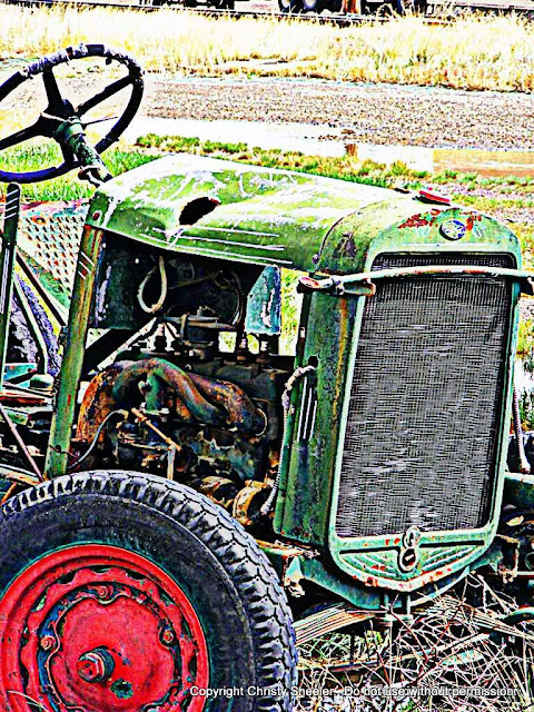 Edited photograph vintage tractor, filters applied.  Second art reference photo used for artwork.