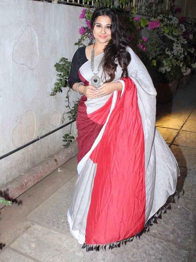 Vidya Balan In White Saree At New Hindi Movie Promotions