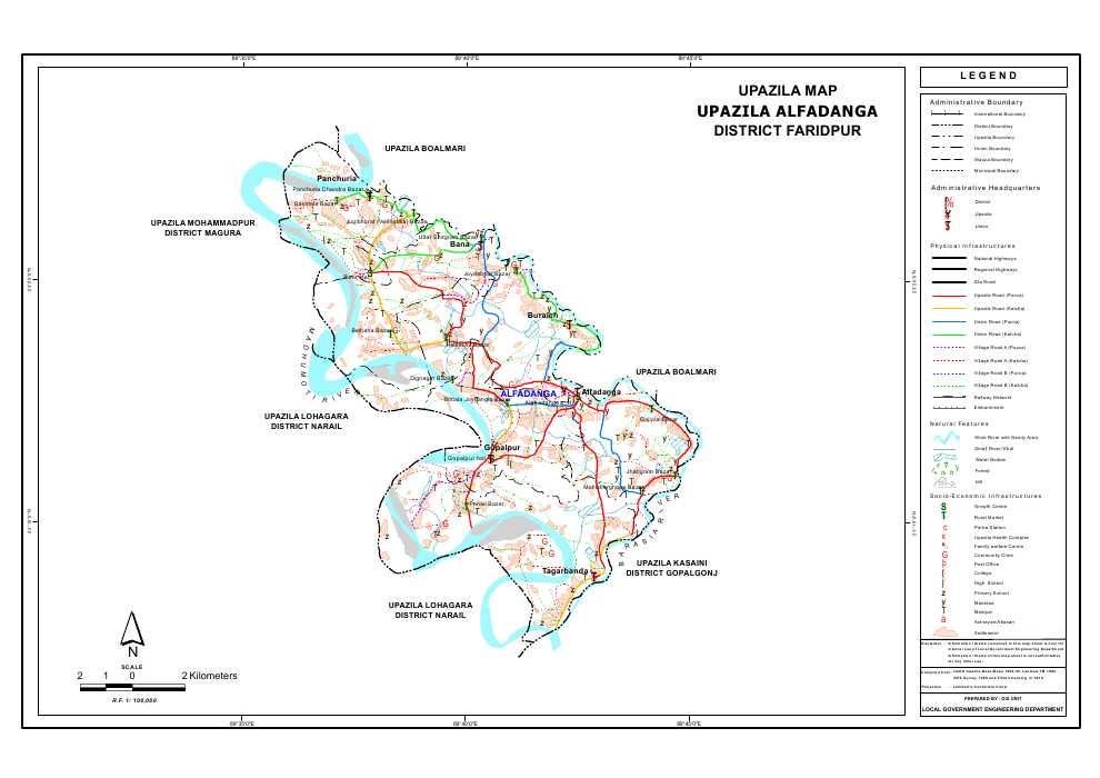 Alfadanga Upazila Map Faridpur District Bangladesh