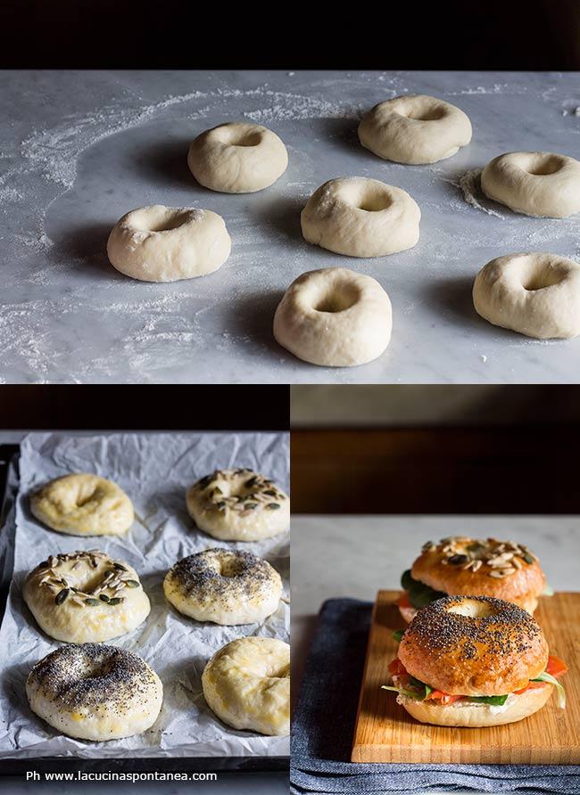 Foto dei vari passaggi per la preparazione dei bagel