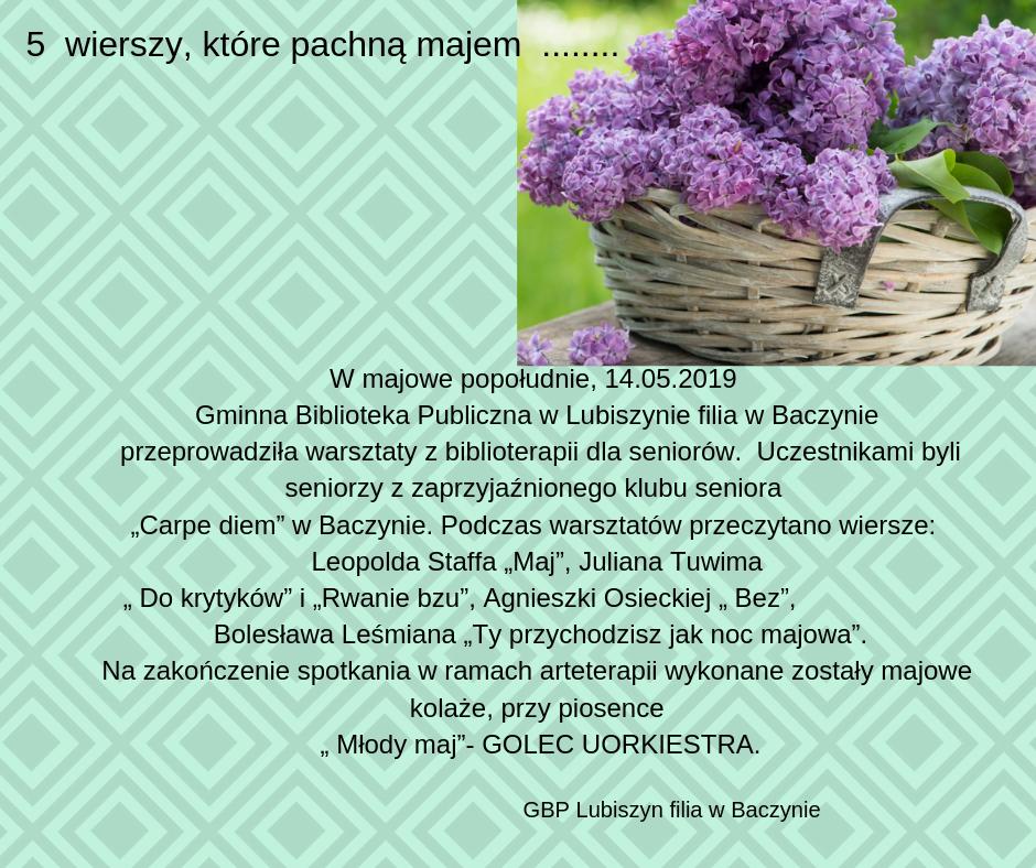 Biblioteka Lubiszyn Wiersze Które Pachną Majem