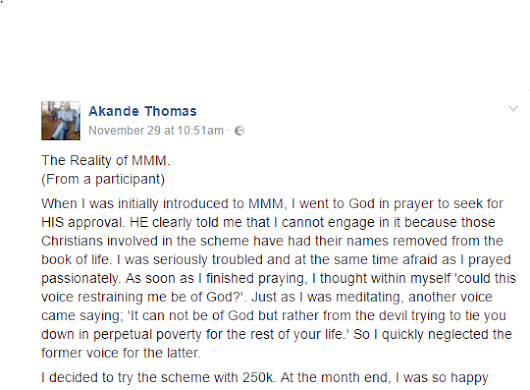 Hell Awaits You If You Participate in MMM - Man Cries Out