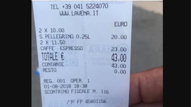 Βενετία όπως... Μύκονος: Χιλιανός πολιτικός πλήρωσε 43€ για δύο καφέδες και δύο νερά!