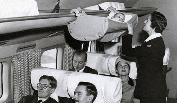 babies traveling plane 1950