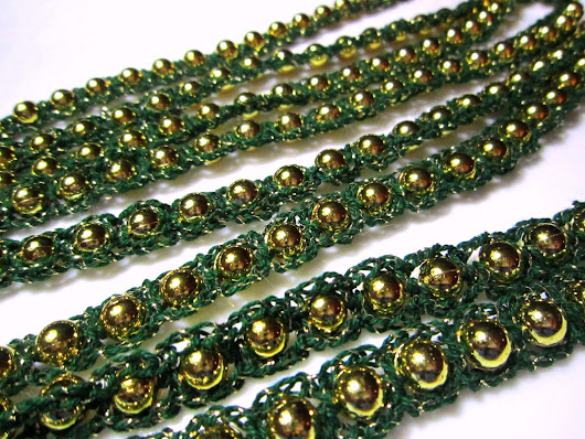 Beaded Garland with Fine Cotten Crochet - Gold with Dark Green and Gold Sparkle