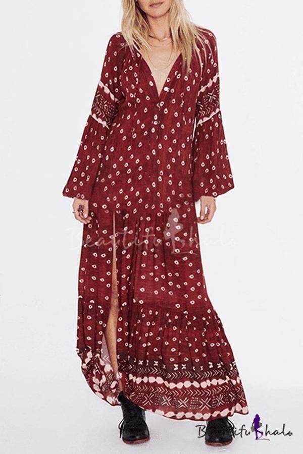 Women's Fashion Ethnic Floral Printed V-Neck Long Sleeve Sexy Split Front Burgundy Maxi Beach Dress