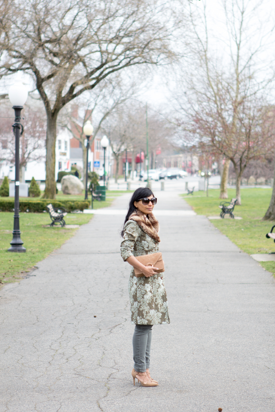 Floral coat, Barneys, Liquid, Cargo pants, Banana republic, brown suede bag, nude lace-up pumps