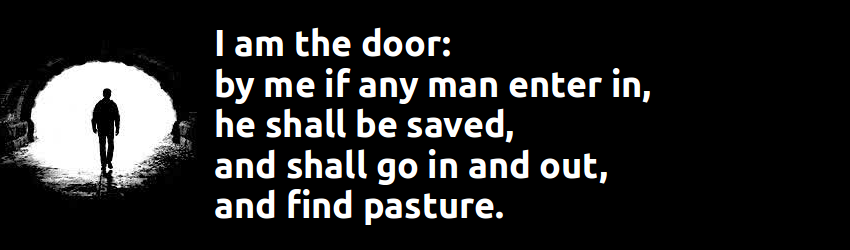 I am the door: by me if any man enter in, he shall be saved, and shall go in and out, and find pasture.