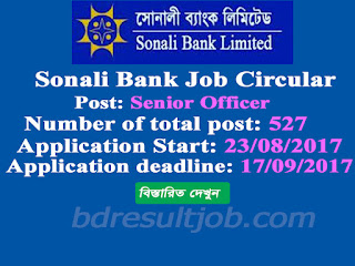 Sonali Bank Limited (SBL) Senior Officer Job Circular 2017