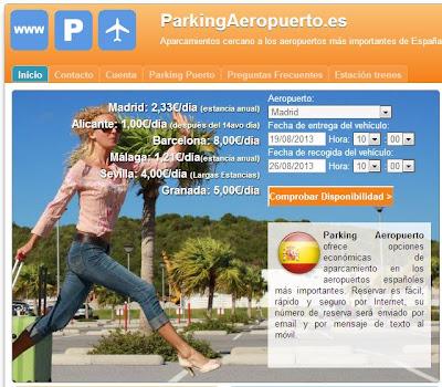 Página web para escoger el aparcamiento del coche en el aeropuerto de Barajas, Madrid.