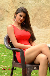 Actress Poojitha  Pictures in Red Short Dress at Bullet Movie Opening  0109.JPG