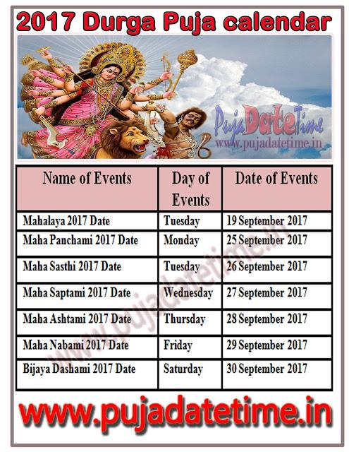 2017 Durga Puja Calendar