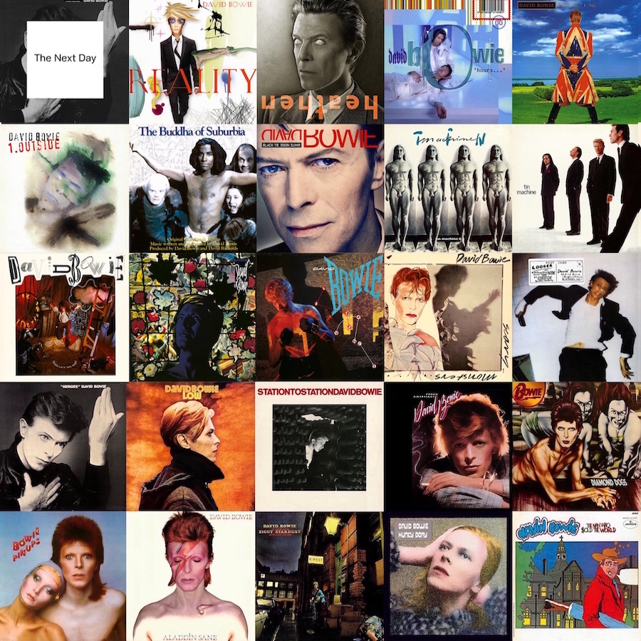 Grid of covers to 25 David Bowie albums in reverse chronological order