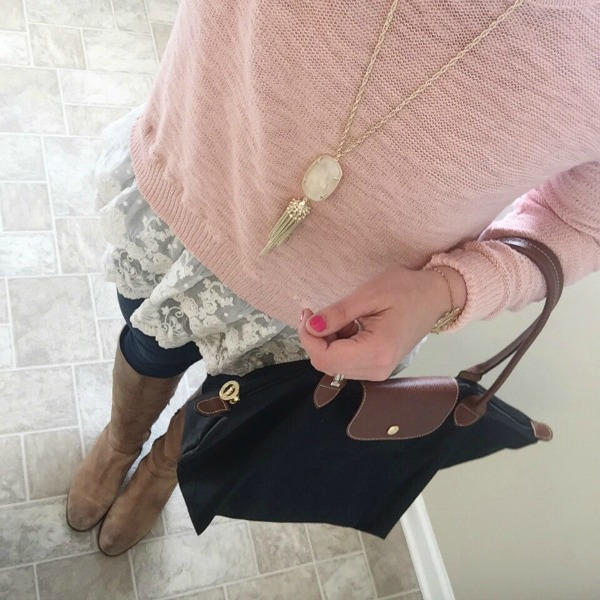 target lace sweater, riding boots, kendra scott necklace