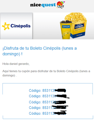 nicequest boletos gratis al cine