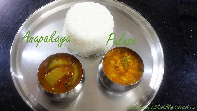 Anapakaya Pulusu with Dhal and Rice