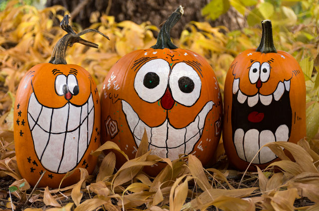 Painted pumpkin decorations