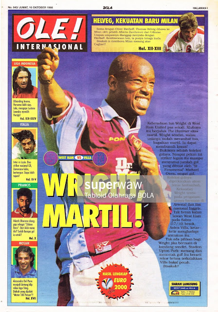 IAN WRIGHT WEST HAM UNITED VS ASTON VILLA 1998