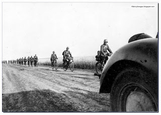 Hungarian soldiers on bicycles on the eastern front