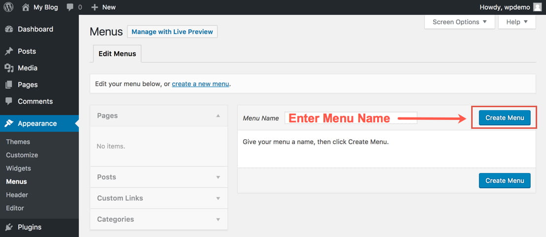 WordPress par Menus option choose kare
