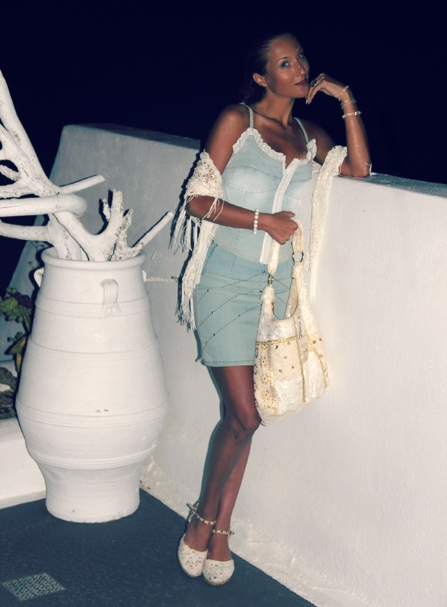 light blue denim mini skirt and light blue denim bustier top with white lace