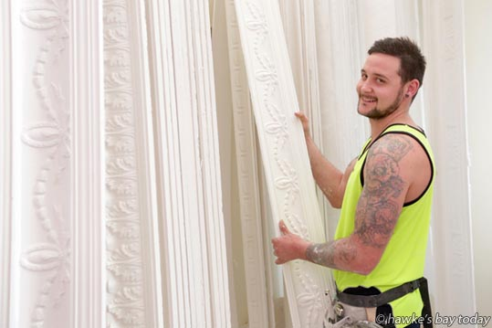 Rikki Dewes has just finished his apprenticeship at Atlas Fibrous Plaster Co Ltd, Hastings, and will represent New Zealand in the Crocodile Sign Challenge, at the AWCI Association of Wall and Ceiling Industries Challenge 2016, in Australia. photograph