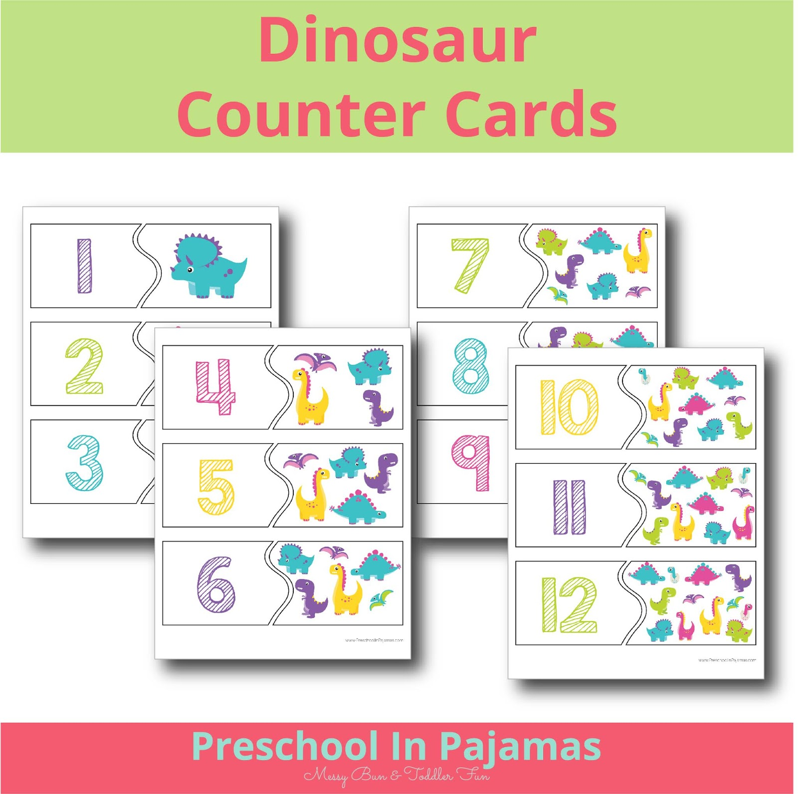 Free Dinosaur Counter Cards Printable