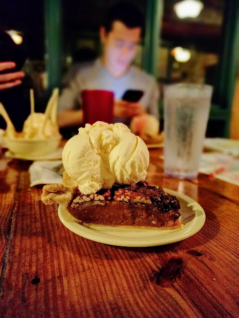 Chocolate pecan pie a la mode in Austin, Texas