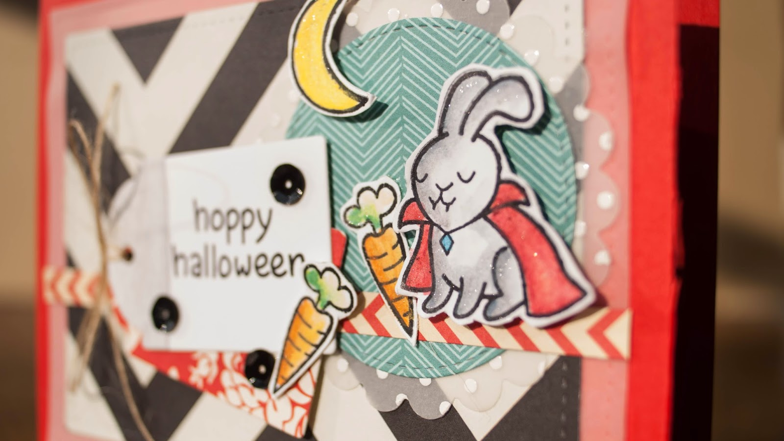 halloween #5 2014 - hoppy haloween - using watercolor pencils and velum with pattern paper