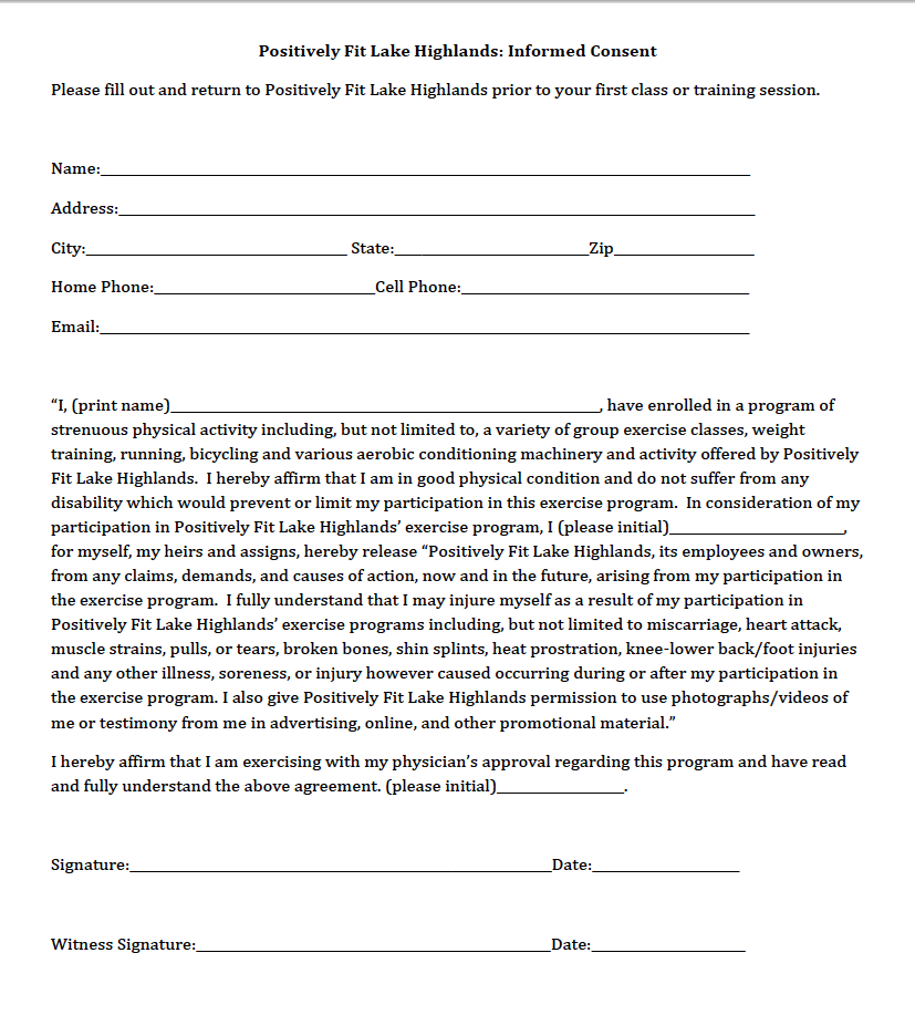 Consent Form Template Consent Forms