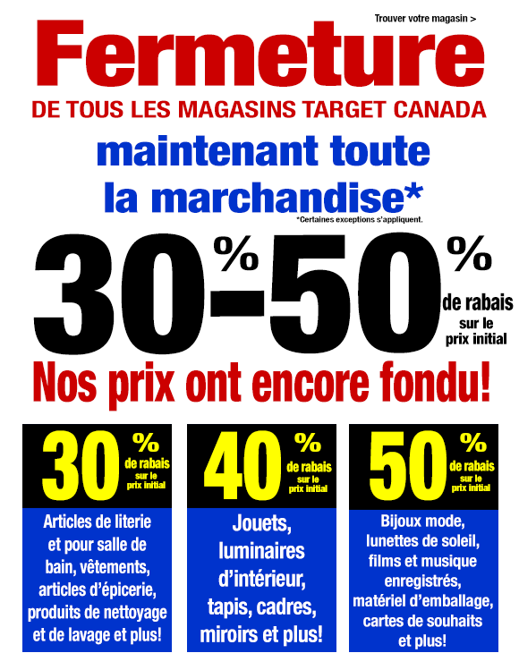 vente de fermeture de tous les magasins target canada. Black Bedroom Furniture Sets. Home Design Ideas