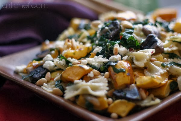 <b>Roasted Delicata Squash and Tuscan Kale Pasta</b> {Cook the Books + 12 Weeks of Winter Squash}