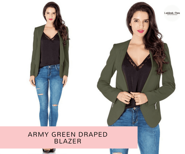Army Green Draped Blazer | Blushing Geek