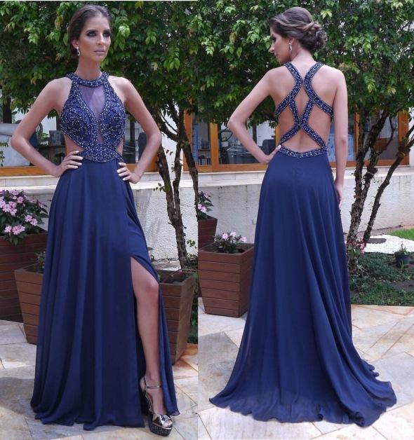 vestido de festa azul escuro