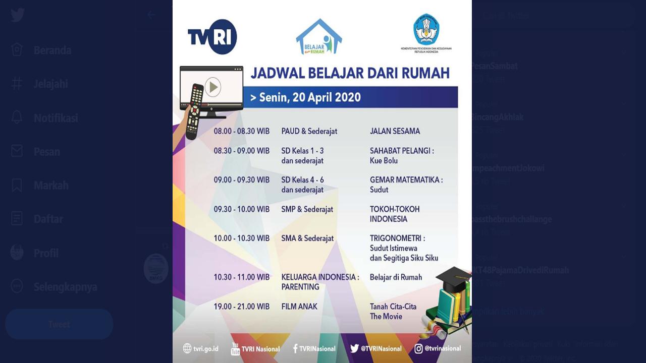 Jadwal Acara Program Belajar dari Rumah TVRI