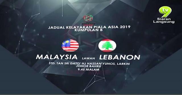 Live Streaming Malaysia vs Lubnan 13 Jun 2017 Kelayakan Piala Asia 2019